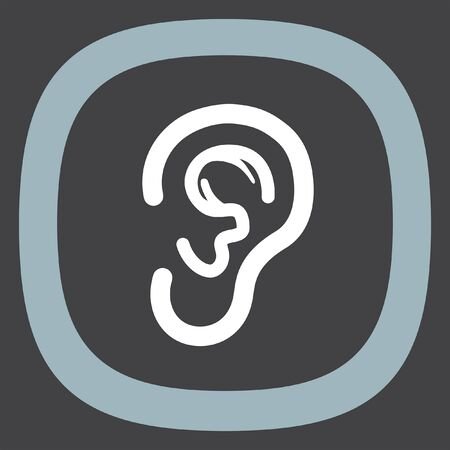 perception: Ear vector icon. Hands free sign. Hearing symbol Illustration