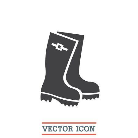 Bottes de pluie vecteur icône. Caoutchouc signe de la chaussure. symbole Gumboots