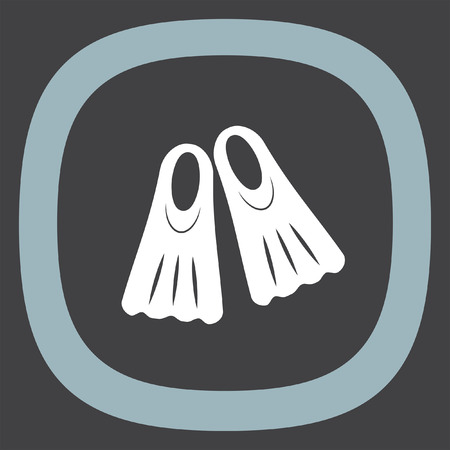fins: Swimming fins vector icon. Diving gear sign. Undewater and ocean scuba dive symbol