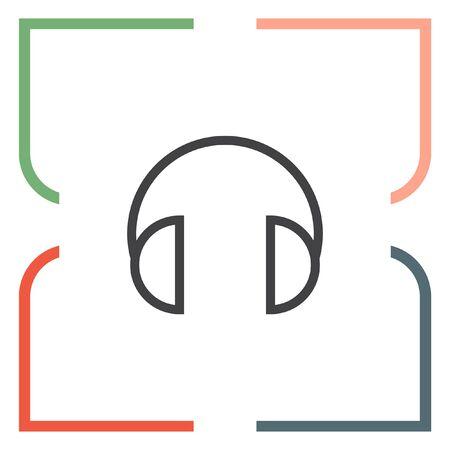 volume control: Headphones headset sign line vector icon. Music sign line icon. Volume control sign. Sound control symbol.