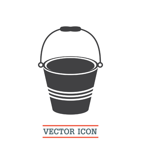 pail: Water bucket vector icon. Pail sign. Construction equipment symbol