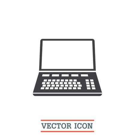 laptop keyboard: Lap top vector icon. Coumouter sign. Personal computer symbol Illustration