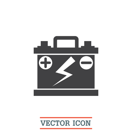 alkaline: Car battery vector icon. Energy power sign. Electricity charge symbol. Battery shop symbol.