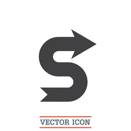 meandering: Arrow meandering vector icon. Direction sign line icon.