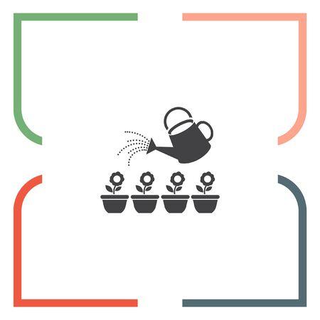regando plantas: Regadera del jard�n segmento de icono de vector. signo de la maceta. regar las plantas s�mbolo