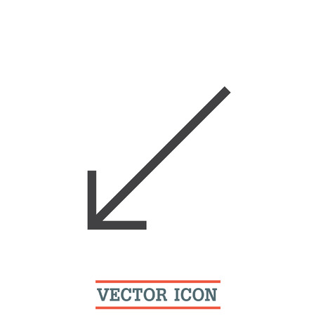 bottom: Arrow bottom left sign line vector icon. Direction sign line icon. Illustration