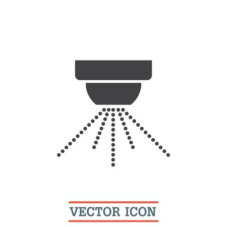 Water sprinklers vector icon. Fire safety device sign. Emergency symbol