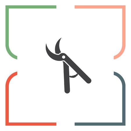 pruning shears: Garden pruner vector icon. Backyard scissors sign. Grooming equipment symbol Illustration