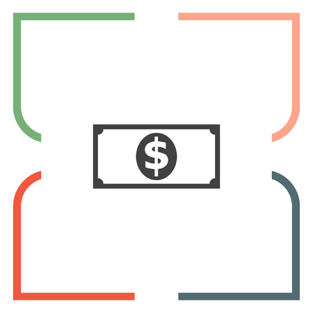 currency symbol: Money banknote sign line vector icon. Dollar sign vector icon. Cash icon. USD currency symbol. Illustration