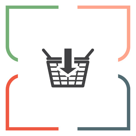 add to basket: Add to shopping basket vector icon. On line shop sign icon. Web store purchase symbol.