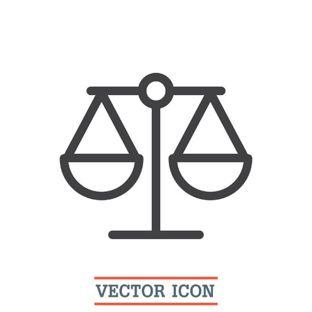 equilibrium: Scales sign line vector icon. Justice symbol icon. Balance sign icon. Illustration