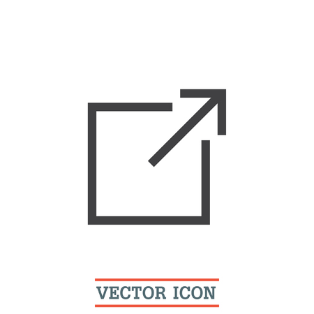 New window sign line vector icon. Open another tab button sign. Browser frame symbol Illustration