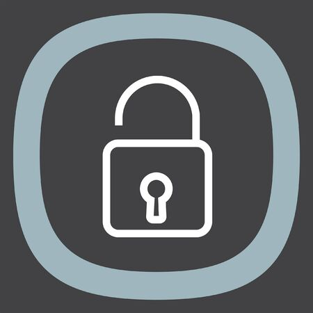 encryption icon: Padlock sign line vector icon. Open lock sign icon. Protection sign. Password symbol. Unlock symbol.
