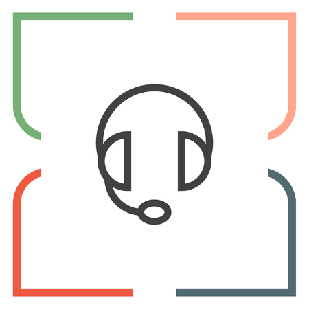 headset symbol: Headphones headset sign line vector icon. Support sign vector icon. Headphones with microphone symbol. Illustration
