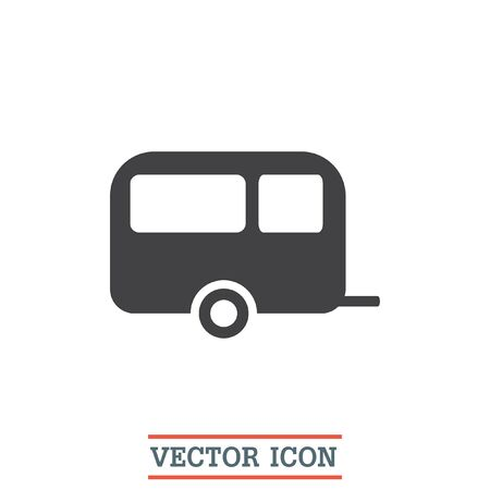 recreation: Camping trailer vector icon. Vacation sign. Travel and recreation symbol.