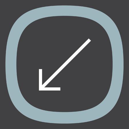 bottom line: Arrow bottom left sign line vector icon. Direction sign line icon. Illustration