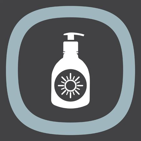 sun tanning: Sun lotion vector icon. Skin protection sign. Sunscreen and sunblock symbol Illustration