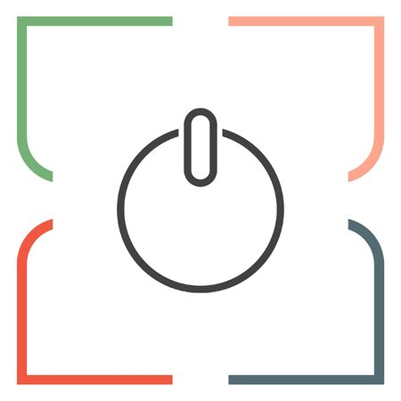 control power: Power button line vector icon. UI control power symbol.