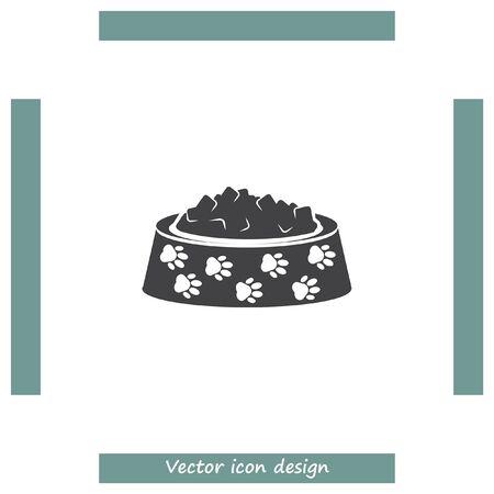 Tiernahrung Vektor-Symbol. Hund Schüssel mit Essen zu unterzeichnen. Tierfutter und Ernährung Symbol Vektorgrafik