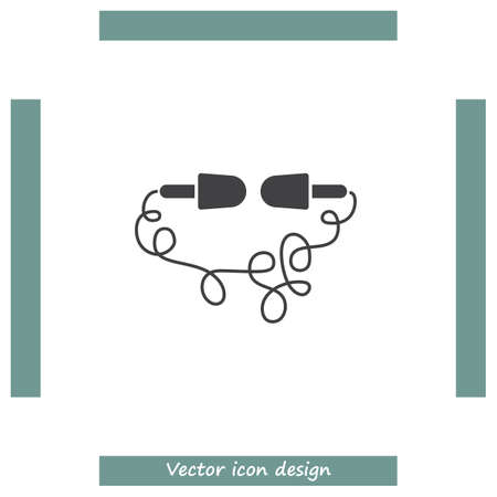 earbud: Headphones headset sign line vector icon. Support sign line vector icon. Headphones with microphone icon. Illustration