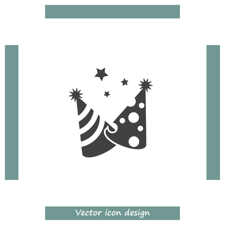 new year's cap: Party hat vector icon. Birthday surprise sign. Celebration cap symbol Illustration