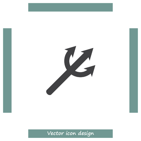 harpoon: Devils Trident vector icon. Poseidon weapon sign. Aqua park symbol