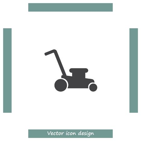 mowing the grass: Mower vector icon. Lawnmower sign. Landscaping symbol