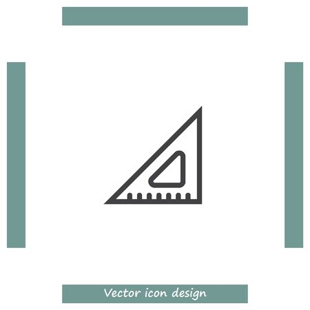 straightedge: Ruler sign line vector icon. Measure sign icon. Triangular ruler icon. Straightedge sign. Geometric symbol. Illustration