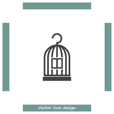 trapped: Bird Cage vector icon. Lost of freedom symbol. Trapped sign. Illustration