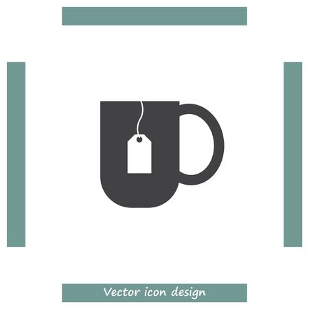 tea hot drink: Tea cup vector icon. Hot drink sign. Teabag in a hot water mug symbol