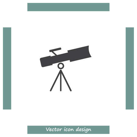 spyglass: Telescope vector icon. Astronomy optical instrument sign. Spyglass symbol