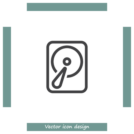 Hard disk sign vector icon. HDD sign vector icon. Hard drive storage sign. Illustration