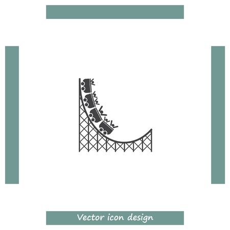 speed ride: Roller coaster vector icon. Amusement park sign. Speed ride symbol Illustration