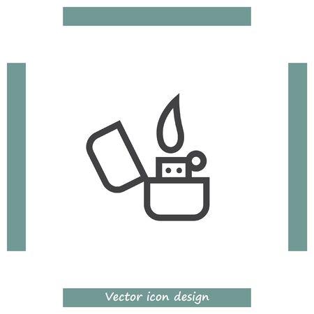 butane: Lighter sign line vector icon. Tobacco burner sign. Cigarette symbol Illustration