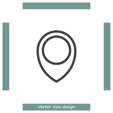 placeholder: Placeholder map pin sign line vector icon. Destination pointer icon. Road location sign. GPS navigation pin sign.