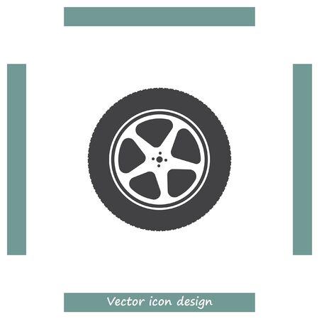 car tire: Car wheel vector icon. Automobile tire symbol. Illustration