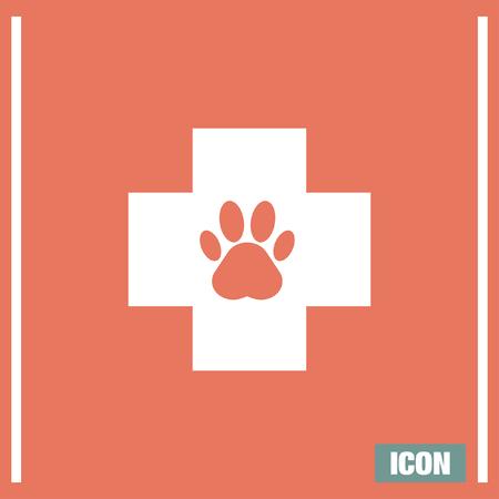 simbolo medicina: Mascotas icono del vector de veterinaria. signo examen de los animales. El gato y el perro doctor símbolo