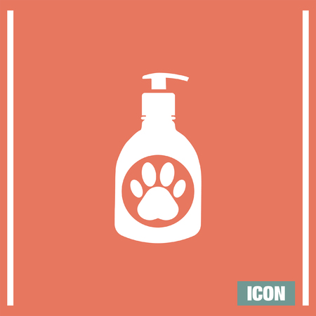 doggies: Pet shampoo vector icon. Animal cleaning soap sign. Dog and cat bathing and showering wash symbol