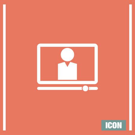 computer education: Computer study vector icon. Online studies sign. Education from home symbol Illustration