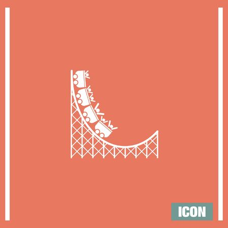 carnival ride: Roller coaster vector icon. Amusement park sign. Speed ride symbol Illustration