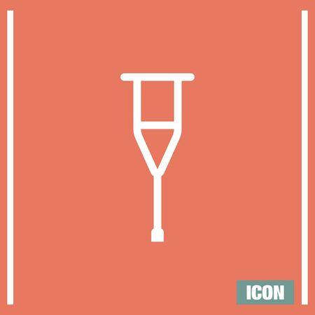 crutch: Crutch sign line vector icon. Support symbol. Orthopedic hospital sign.