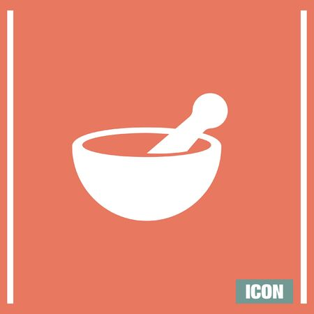 mortar and pestle: Mortar and pestle pharmacy vector icon. Pharmacy tool sign. Medical equipment symbol