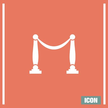 barricade: Queue barricade vector icon. Concert enterance sign. Museum rope and pole barrier symbol