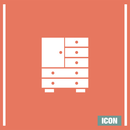office cabinet: Cabinet vector icon. Drawers symbol. Office furniture sign.