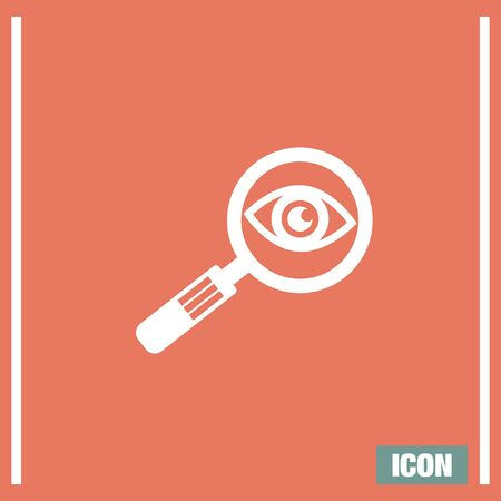 magnification: Magnifying glass with eye sign vector icon. Search vector icon. Zoom symbol. Find vector icon symbol. Illustration