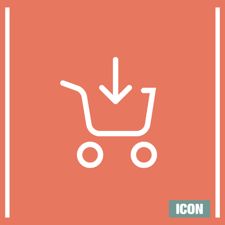 super market: Add to shopping chart line vector icon. On line shop sign line icon. Web store purchase symbol.