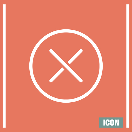reject: Cancel vector line icon. Close sign icon. Reject sign icon. Illustration