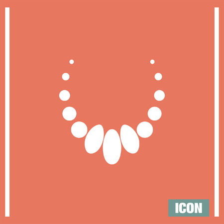 Necklace vector icon. Jewerly sign. Woman elegance pearls symbol