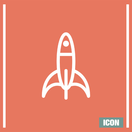 shuttle: Rocket sign line vector icon. Space ship sign icon. Start up business sign. Spaceship shuttle symbol.