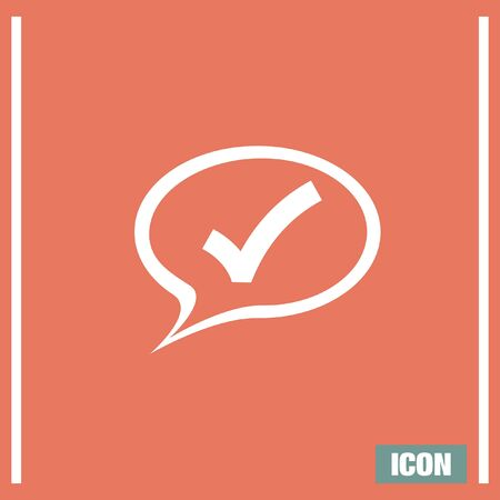 confirmation: Speech bubble and ok sign vector icon. Confirmation sign in a cloud sign. Checksign symbol